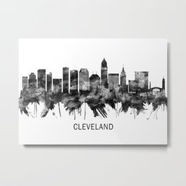 Cleveland Ohio Skyline BW Metal Print