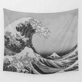 Black & White Japanese Great Wave off Kanagawa by Hokusai Wall Tapestry
