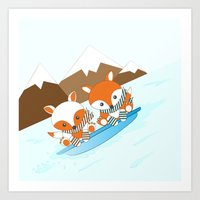 skiing Art Prints featuring Skiing by HK Chik