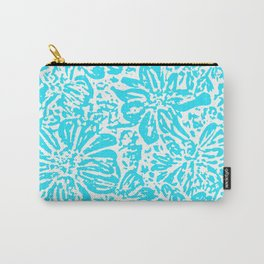Marigold Lino Cut, Turquoise Carry-All Pouch