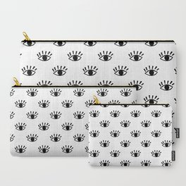 Graphic Black and White Eye Pattern Carry-All Pouch
