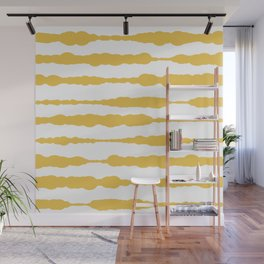 Macrame Stripes in Mustard Yellow and White Wall Mural