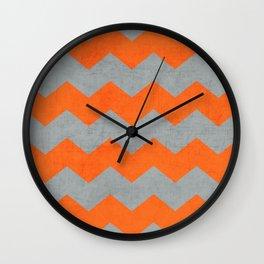 chevron- gray and orange Wall Clock