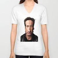 celebrity V-neck T-shirts featuring Celebrity Sunday ~ David Duchovny by rob art | illustration
