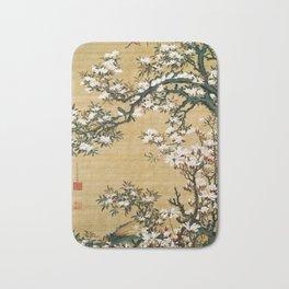 12,000pixel-500dpi - Ito Jakuchu - Malus halliana and white-eye - Digital Remastered Edition Bath Mat