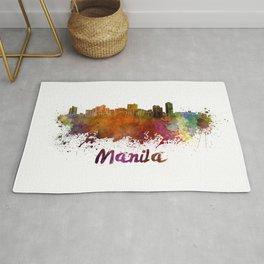 Manila skyline in watercolor Rug