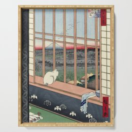 Utagawa Hiroshige Japanese Woodblock Cat Print Serving Tray