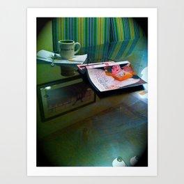 Mom's thursday night tea and a book Art Print