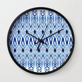 Ikat Blue Wall Clock