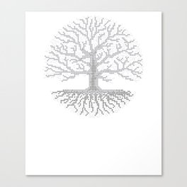 Pixel Art - Cross Stitch Chart - Grey Tree of Life - Canvas Print