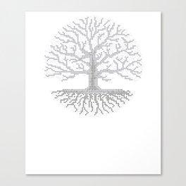 Pixel Art - Cross Stitch Chart - Grey Tree of Life - Canvas Print