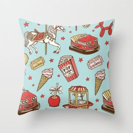 carnival pattern on blue Throw Pillow