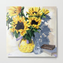Painted Sunflowers by Amy Herman Metal Print