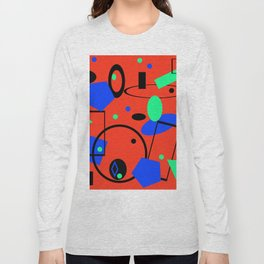 Retro abstract red print Long Sleeve T-shirt