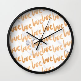 Love Copper Gold Marble Wall Clock