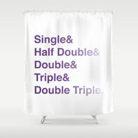 helvetica Shower Curtains featuring Crochet Helvetica Ampersand Style by Corrie Jacobs