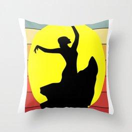 Flamenco Dancer Retro Throw Pillow