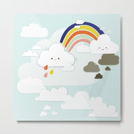 Cute clouds & rainbow Metal Print