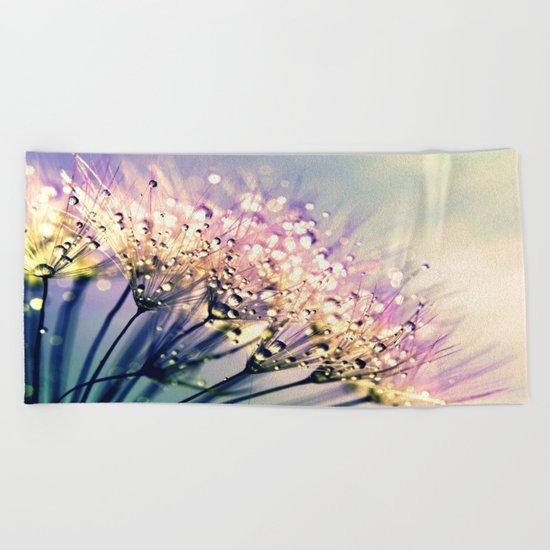 Pastel Dandelion Dew Beach Towel