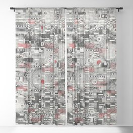 The Flaw Advantage (P/D3 Glitch Collage Studies) Sheer Curtain