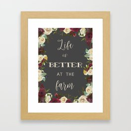 Boho Watercolour Roses Burgundy, Peach and Life Quote Framed Art Print