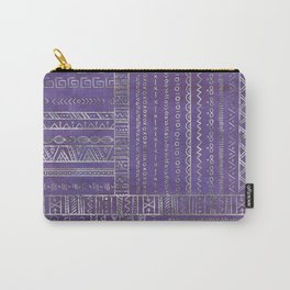 Tribal Ethnic pattern silver on  purple Carry-All Pouch
