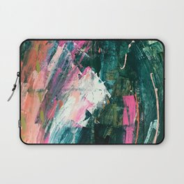 Meditate [1]: a vibrant, colorful abstract piece in bright green, teal, pink, orange, and white Laptop Sleeve