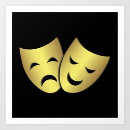 Theater masks: happy and sad faces Art Print