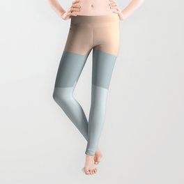 Modern  pastel coral blue color block stripes Leggings