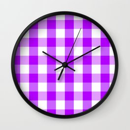 Purple and white Tartan (Scotch) Pattern Wall Clock