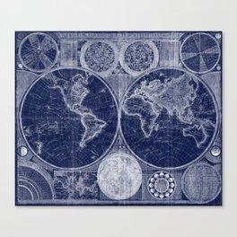 World Map (1794) Blue & White Canvas Print