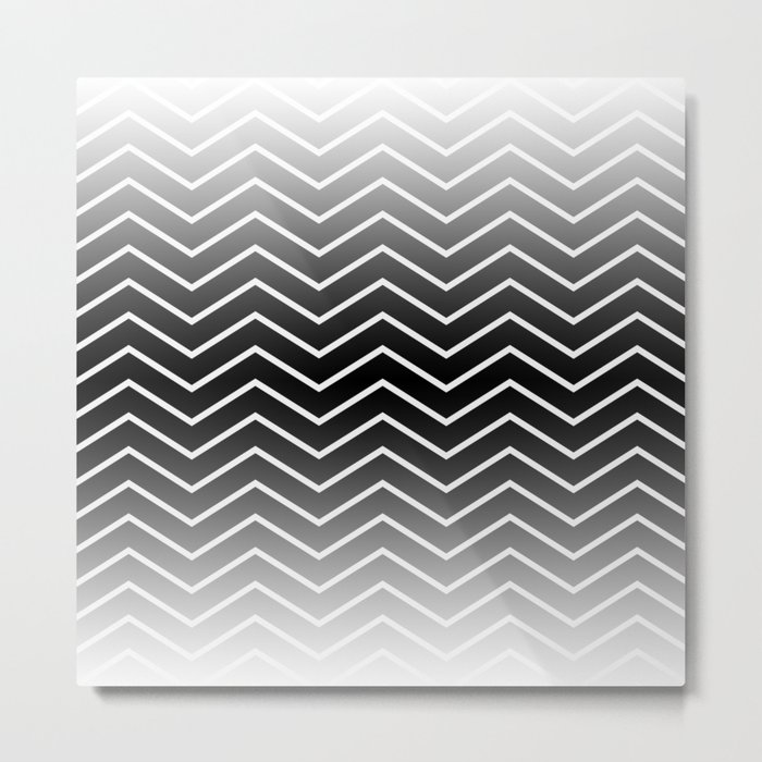 Fat Thin Chevrons Dove White Metal Print