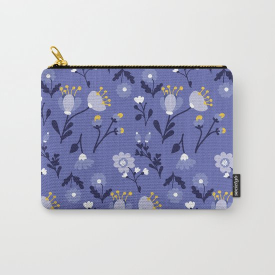 Blue Vintage Flower Pattern Carry-All Pouch