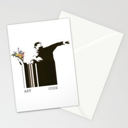 flower thrower banksy art code Stationery Cards