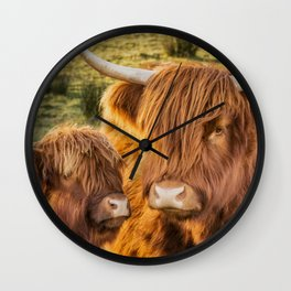 Mother and child. Highland Cows of Scotland....(heilan coo's) Wall Clock