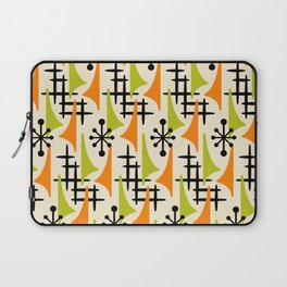 Mid Century Modern Atomic Wing Composition Orange and Chartreuse Laptop Sleeve