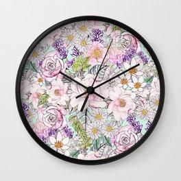 Watercolor garden peonies floral hand paint Wall Clock