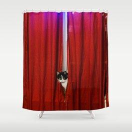 Peek-A-Boo Tuxedo Kitty Shower Curtain
