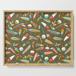 Fishing Lures Green Serving Tray