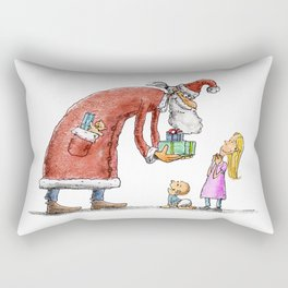 Funny santa claus gift giving illustration Rectangular Pillow
