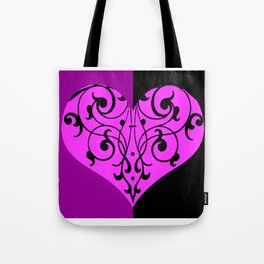 Gothic Victorian Black and Purple Heart Tote Bag