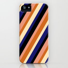 Eye-catching Black, Dark Salmon, Chocolate, Beige, and Midnight Blue Colored Striped Pattern iPhone Case