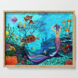 A Fish of a Different Color - Mermaid and seaturtle Serving Tray