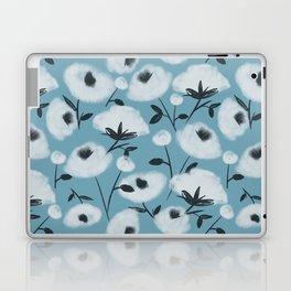 Cotton Flowers on Blue Pattern Laptop & iPad Skin