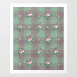 flower/pink/green/texture/deep colors Art Print