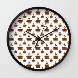Coffee Cup Pattern Wall Clock