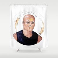 stargate Shower Curtains featuring Stargate - Teal'c by Sunol Golden