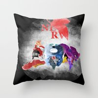 evangelion Throw Pillows featuring Evangelion by icantusechanwei
