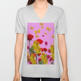 DECORATIVE YELLOW BUTTERFLIES, RED ROSES, DAFFODILS SPRING FLOWERS Unisex V-Neck