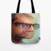 christian schloe Tote Bags featuring Christian Gerhartsreiter by robotrake